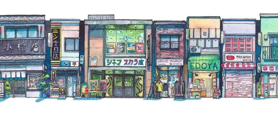 淡彩风景建筑插画教程,附赠海量临摹素材【570期】