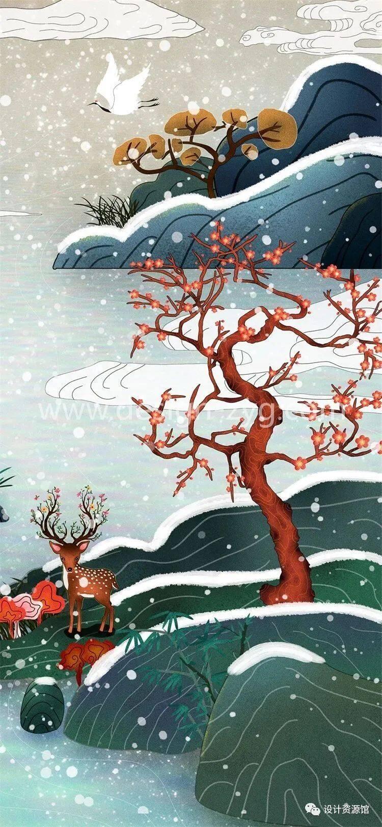 中国风合集 中国传统纹样锦集+中国风精美潮流插画+精美纸质纹理素材【712期】插图19