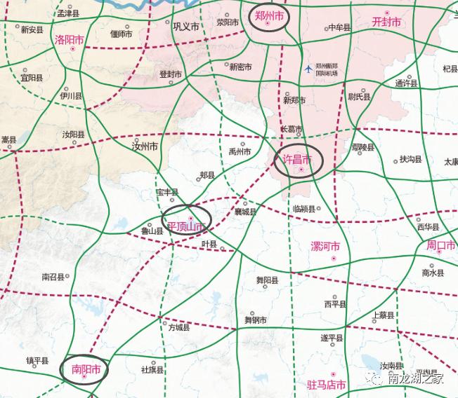 郑州至南阳高速龙湖段走向……